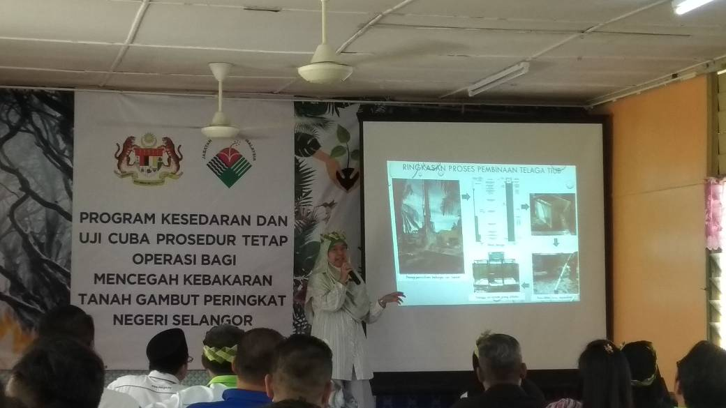 PENGLIBATAN JABATAN MINERAL DAN GEOSAINS MALAYSIA DALAM PROGRAM KESEDARAN DAN UJICUBA PROSEDUR TETAP OPERASI BAGI KEBAKARAN GAMBUT NEGERI SELANGOR DI BUKIT CHEDING PADA 21 MAC 2018