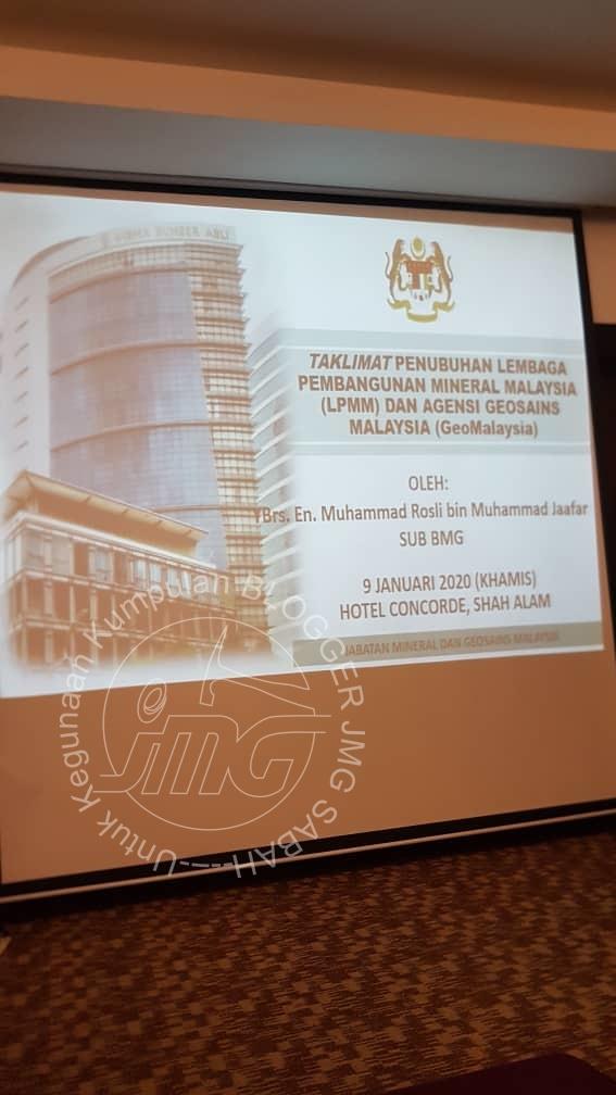 TAKLIMAT RASIONALISASI JABATAN KE ARAH PENUBUHAN LEMBAGA PEMBANGUNAN MINERAL MALAYSIA (LPMM) DAN GEOMALAYSIA