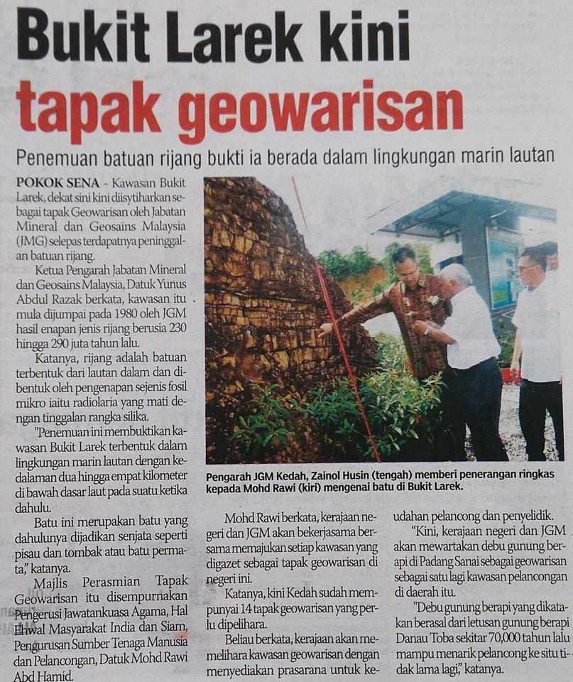 Majlis Perasmian Tapak Terpelihara Geowarisan Bukit Larek, Pokok Sena, Kedah Di Media Perdana